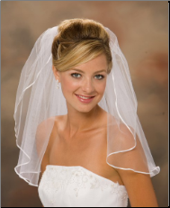"Shoulder Length, 1/8"" Ribbon Edge Veil"