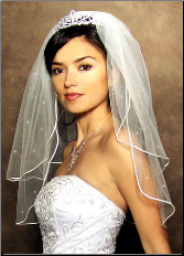 "20"" x 25"" Long Satin Cord Veil with swarovski rhinestones"