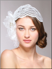 Juliet Bridal Cap with Dark Ivory Lace, Organza Flower & Feather Hair Clip
