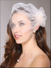 Tulle Birdcage Veil Bridal Cap with Side Pouf & Stamen Accents