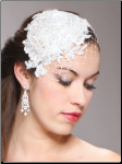 Retro Lace and Silk Bridal Cocktail Hat with Wide Netting