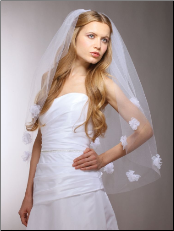 "Handmade Designer Double Organza Flowers Wedding Veil - 25"" Elbow Length"