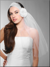 Headband-Style Tulle Bridal Veil with Organza Flower & Pearl Center