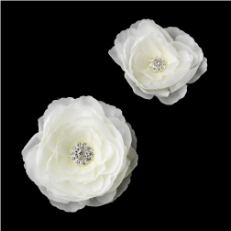 White or Ivory Jeweled Ranunculus Pair Clip