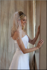 Metallic corded with pearl, bugle bead and rhinestone accents veil