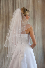 2 layers Rattail Edge Veil with Rhinestone Appliques