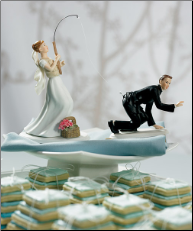 Fishing Bride and Caught Groom Figurine