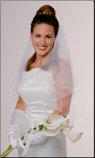 Circular Edged Bridal Veil with Bugle Beads and Sequins