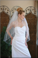 Bugle bead, sequin and pearl edge veil