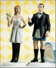 "Bride ""In Charge"" Wearing Pants and Groom ""Not In Charge"" Without Cake Toppers NEW"