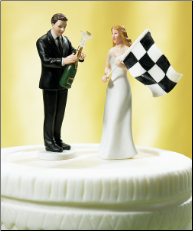 Bride at Finish Line with Victorious Groom Figurine NEW