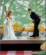 Bride Ready To Hit A Home Run with Groom Pitching Cake Toppers NEW