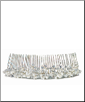 White Pearl & Crystal Flowers in Silver Hair Comb NEW