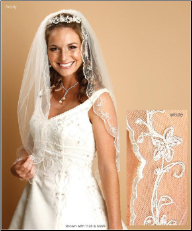 1 Layer Mantilla Veil with Embroidered crystals