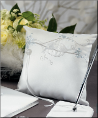 Love Bird in Classic White Square Wedding Ring Pillow