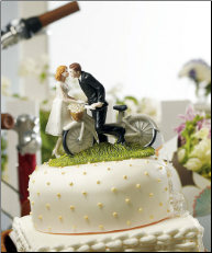 A Kiss Above Bicycle Couple Romantic Wedding Cake Topper