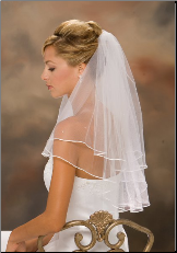 "1/8"" Ribbon Edge Veil with rhinestones"