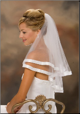 "20""x 25"" 7 Long 7/8"" Ribbon Edge Veil"