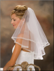 "20"" x 25"" Long 5/8"" Sheer Ribbon Edge Veil"