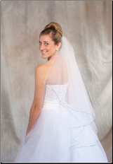 Emerald corded edge Bridal Veil
