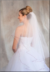 Garnet corded edge Bridal Veil