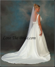 "72"" Long  Pearl edge Veil Circular cut"