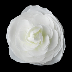 Soft Realistic Looking Diamond White Ranunculus Flower Hair Clip