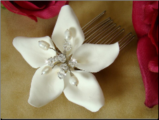 Starfish Orchid Style Bridal Comb with Crystals Comb
