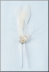 Bridal Flower Feather Pin with Rhinestones