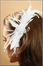 Feather Comb with baby pearls and crystals