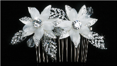 Beautiful Ivory or Clear Flower Hair Comb