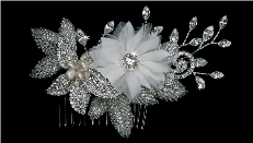 Silver White or Ivory Hair Comb