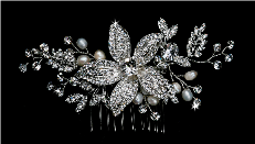 Bridal Hair Comb with Rhinestones and Pearls