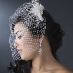 Fancy Feather Fascinator & Cage Veil HP 7797
