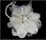 Silver Platinum Feather Fascinator for Hair or wear as a Pin