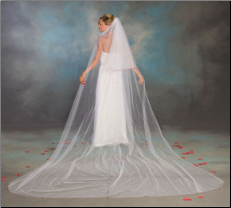 Long Cathedral veil with colored or plain edge