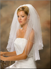 Waist Corded Edge Bridal Veil with Pearls