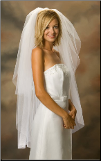 Knee Length Standard Cut Edge Bridal Veil