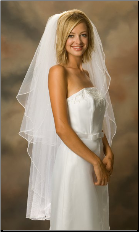 Knee Length Standard Pearl Edge Bridal Veil