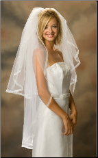 Knee Length Sheer Ribbon Bridal Edge Veil