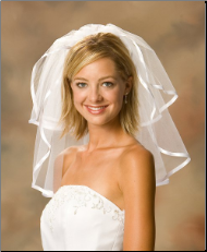 "Short 3/8"" Ribbon Edge Bridal Veil"