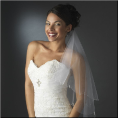 Elbow Length Veil with Scalloped Edge and Crystals