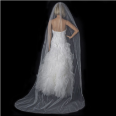 Bridal Wedding Single Layer Cathedral Length Veil