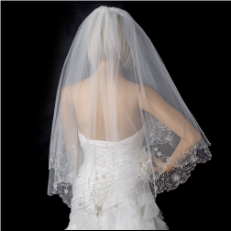 2 Layer Fingertip Length, Beaded & Embroidered Edge Veil