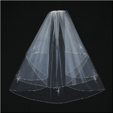 Wedding Veil Silver Pencil Edge with Seed Bead Flower Design