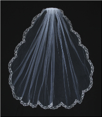 Wedding Veil Embroidered Edge with Bungle Bead and Glass Drop Beads