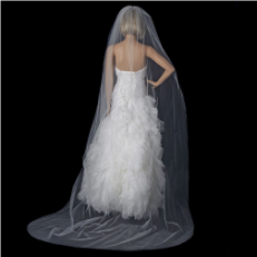 Bridal Wedding Single Layer Cathedral Cut Edge Length Veil