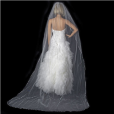 Bridal Wedding Single Layer Pencil Edge Cathedral Length Veil