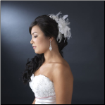 White Feather Fascinator with Sequence & Bugle Beads