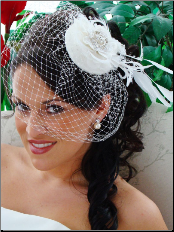 Bridal Hat and Bird Cage Veil HP 8127